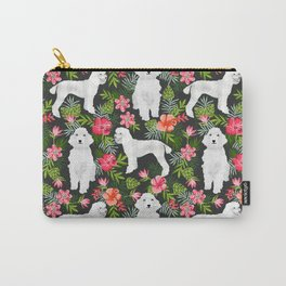 White Poodle floral hawaiian tropical dog breed dogs pet friendly pet art pattern Carry-All Pouch