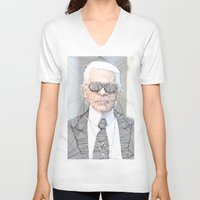 karl lagerfeld V-neck T-shirts featuring ICONS: Karl Lagerfeld by LeeandPeoples