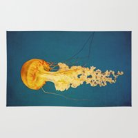 jellyfish Area & Throw Rugs featuring Jellyfish by Retro Love Photography
