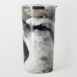 Blue Wolf Watercolor (Color) Travel Mug