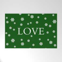 Winter Love - hunter green Welcome Mat
