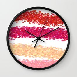 Wint. ethnic lines on white  Red Wall Clock