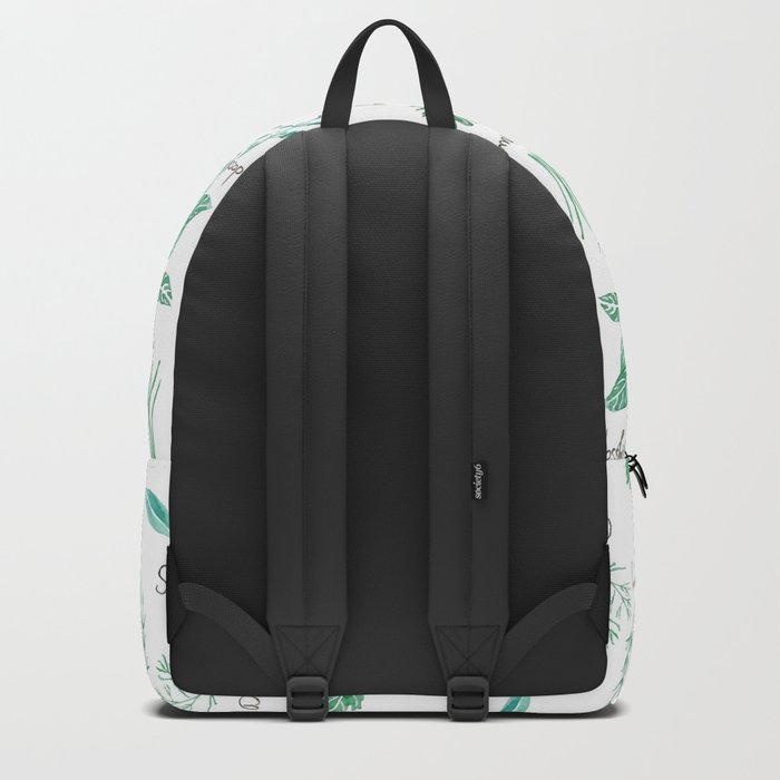 green herbs family watercolor Backpack