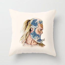 King of waves Throw Pillow