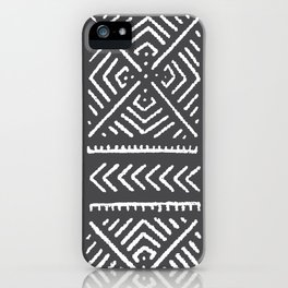 Line Mud Cloth // Charcoal iPhone Case
