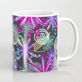 Dotty Flowers in hot pink, aqua & grey Coffee Mug