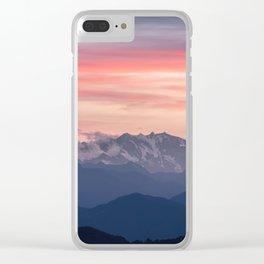 Pink And Blue Pastel Mountains Sky Landscape Sunrise Landscape Clear iPhone Case