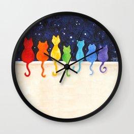 Rainbow Cats at Night Wall Clock