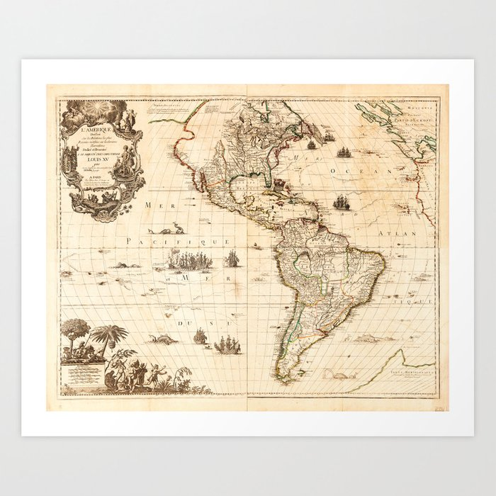 North and South America Map (1740) Art Print by thearts