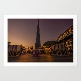 Burj Khalifa sunset Art Print