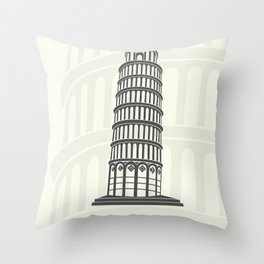 figure leaning tower of Pisa in Italy Throw Pillow