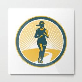 Female Marathon Runner Circle Retro Metal Print