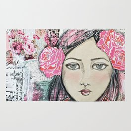 Be Your Own Kind of Beautiful Mixed Media Girl Rug