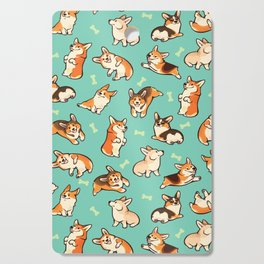 Jolly corgis in green Cutting Board
