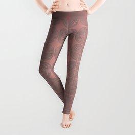 Tin circles on shiny marsala pattern Leggings