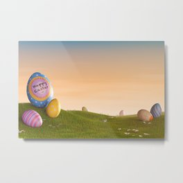 II - Decorated Easter eggs in a grassy hilly landscape at sunset Metal Print