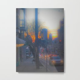 Seattle Street at Sunset Metal Print