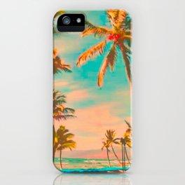 Vintage Hawaiian Beach, Mauna Lani Bay Teal iPhone Case