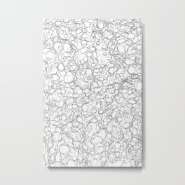 Black and White Ink Pen Lines Bubbles Pattern Metal Print