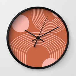 Lines in Terracotta and Blush Wall Clock