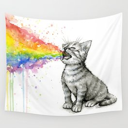 Kitten Puking Rainbow Wall Tapestry