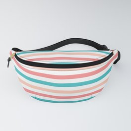 Coral and Aqua Stripes Pattern Fanny Pack