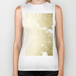 Amsterdam Gold on White Street Map Biker Tank