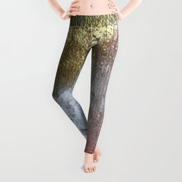 Golden Girl: a pretty abstract mixed media piece in pink, white, gold, and gray Leggings