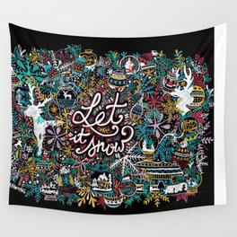 'Let It Snow' Christmas Doodle Drawing Wall Tapestry