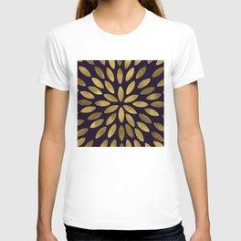 Classic Golden Flower Leaves Pattern T-shirt