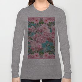 DECORATIVE PINK ROSE GARDEN & TEAL COLOR Long Sleeve T-shirt