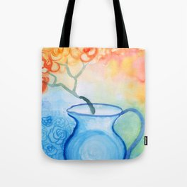 Cherry flowers in the blue jug Tote Bag