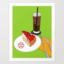 Strawberry Cake Break Art Print