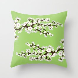 Japanese Sakura Cherry Blossoms (lime) Throw Pillow