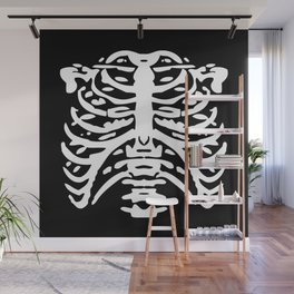 Human Rib Cage Pattern Black and White 2 Wall Mural
