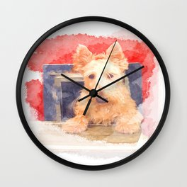 I Love My Scottie Wall Clock