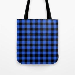 Royal Blue and Black Lumberjack Buffalo Plaid Fabric Tote Bag