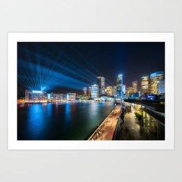 Sydney Skyline dressed in deep blue tones Art Print