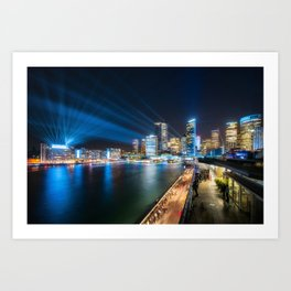 Sydney Skyline dressed in deep blue tones Art Print