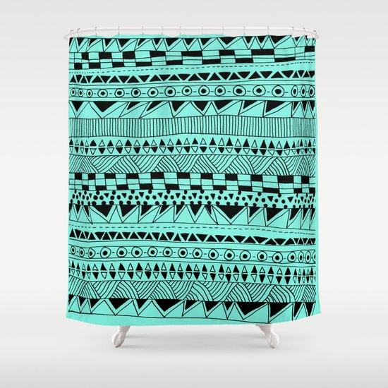 Fun - Black and Mint Shower Curtain