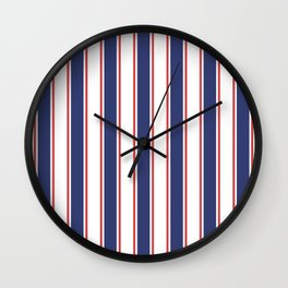 Nautical Red and Blue Stripes 2 Wall Clock