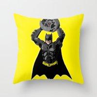 bombs away Throw Pillows featuring Bombs Away by RAD Pencils