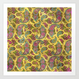 Pink and Blue Glass Paisley  on gold Art Print