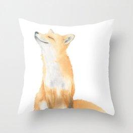 Fox Watercolor Throw Pillow