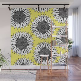 Yellow Sunflower in Black and White Hand Drawing Wall Mural