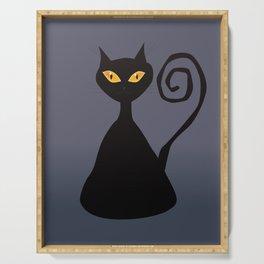 Cunning black cat Serving Tray
