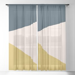 Jag 2. Minimalist Angled Color Block in Navy Blue, Blush Pink, and Mustard Yellow Sheer Curtain