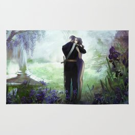 In your arms - Love embrace before departure - couple tight hug Rug
