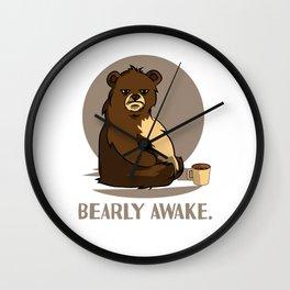 bear coffee caffeine late riser tired joke design Wall Clock