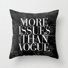 More Issues Than Vogue Black and White NYC Manhattan Skyline Throw Pillow